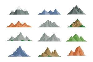 Vektorillustration verschiedener Bergikonen im flachen Design vektor