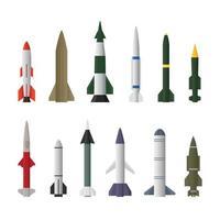 Raketenflugkörperraketen in verschiedenen Typen lokalisiert auf einem weißen Hintergrund vektor