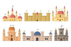 mittelalterliche Feenschlösser und Paläste mit vom Hintergrund isolierten Türmen vektor