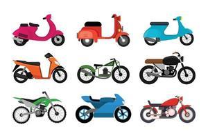 Satz verschiedene Motorradmodelle lokalisiert auf weißem Hintergrund vektor