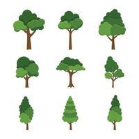 Satz von Baumobjekt lokalisiert auf weißer Hintergrundvektorillustration vektor