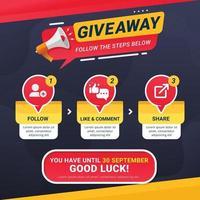 giveaway-steg för designkoncept för sociala medier vektor