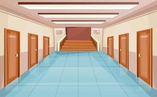 Schulkorridor oder Universitätsinnenraum mit Türen und Treppe vektor