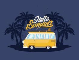 Sommer Retro Van mit Palme und Brandung vektor