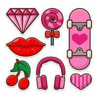 Mädchen Sticker Pack und Patches in rosa Farben gesetzt vektor