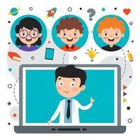 Online-Lernkonzept mit Zeichentrickfigur vektor
