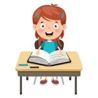 glückliches niedliches Cartoon-Schulmädchen vektor