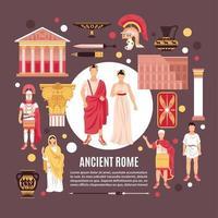 alte Rom flache Zusammensetzung Poster Vektor-Illustration vektor