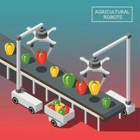isometrische Hintergrundvektorillustration der landwirtschaftlichen Roboter vektor