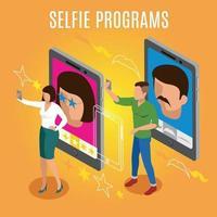 Selfie-Programme isometrische Hintergrundvektorillustration vektor