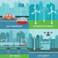 Öko-Städtebaukonzept-Vektorillustration vektor