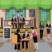 flache Geschäftsessen-Leute-Konzeptvektorillustration vektor