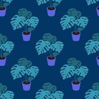 eine Monstera-Pflanze in einem Topf auf einem nahtlosen Muster des dunkelblauen Hintergrundvektors vektor
