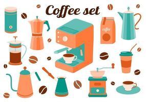 Kaffeeset mit Küchenzubehör vektor