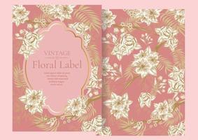 rosa Rosenfream und goldene Elementetiketten für Hochzeitskarte oder Dankeskarte vektor