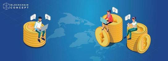 Konzept der Block-Chain-Technologie Datenanalyse für Investoren Marketing-Lösungen oder finanzielle Leistung Kryptowährung Statistik Konzept Illustration modernen flachen Design isometrischen Vektor