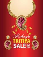 akshaya tritiya indischer Schmuckverkaufsflyer mit Goldmünze und Halskette vektor