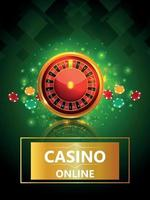 Casino-Glücksspiel mit Vektorillustration von Roulette-Rad-Chips und Spielkarten vektor