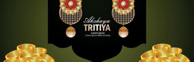 akshaya tritiya einladungsbanner mit goldmünze und goldohrringen vektor