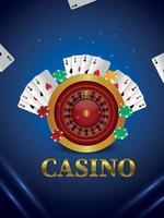 Casino Online-Glücksspiel mit Spielkarten Roulette Rad und Chips vektor