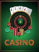 Casino-Glücksspiel mit realistischem Roulette-Rad, das Chips und Würfel spielt vektor