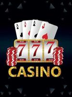 Casino-Glücksspiel mit Vektorillustration von Spielautomaten und Palying-Karten vektor