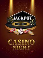 VIP Luxus Casino Glücksspiel mit Vektor Roulette Rad und Chips auf kreativem Hintergrund
