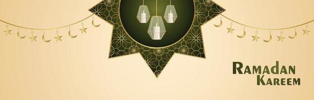 islamisches Festival mit arabischer Musterlaterne für eid mubarak oder ramadan kareem Einladungsfahne vektor