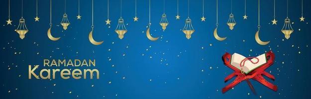 Ramadan Kareem islamisches Festival Banner oder Header mit goldener Laterne und heiligem Buch Quraan vektor