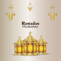 islamisches Festival Ramadan Kareem Einladungsgrußkarte mit goldener realistischer Laterne vektor