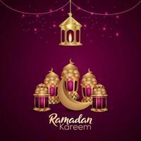realistische Vektorillustration arabische Laterne und Mond des Ramadan kareem auf kreativem Hintergrund vektor