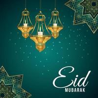 Eid Mubarak islamischer Hintergrund mit realistischer goldener Laterne auf Musterhintergrund vektor