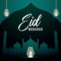 Eid Mubarak islamischer Hintergrund mit arabischer schöner Laterne auf grünem Hintergrund vektor