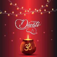 glücklicher diwali indischer Festivalhintergrund mit leuchtenden om kalash und diwali Lichtern vektor