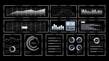 Stellen Sie den virtuellen Infografik-Bildschirm ein vektor
