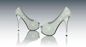Schuhe High Heels mit Pailletten realistisch vektor