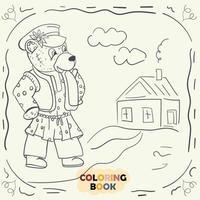 Malbuch für kleine Kinder Konturillustration im Stil des Gekritzel-Teddybären im nationalen russischen Kostüm vektor