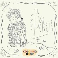 Malbuch für kleine Kinder Konturillustration im Stil des Gekritzel-Teddybärmädchens im nationalen russischen Kostüm vektor