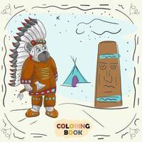 Buchfarbkonturillustration für kleine Kinder im Stil des Gekritzel-Teddybären in der Nationaltracht des nordamerikanischen Inders vektor