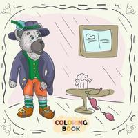 Buchfarbkonturillustration für kleine Kinder im Stil des Gekritzel-Teddybären in der Tracht des Deutschen vektor