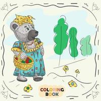 Buchfarbkonturillustration für kleine Kinder im Stil des Gekritzel-Teddybärmädchens in der nationalen russischen Tracht vektor