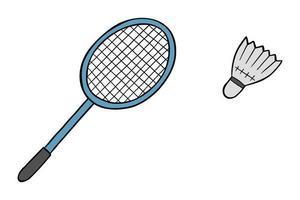 Karikaturvektorillustration des Badmintonschlägers und des Kugel-Federballs vektor