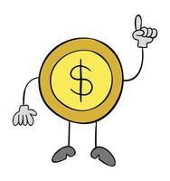 Karikaturvektorillustration der Dollar-Münzmaskottchenfigur, die auftaucht vektor