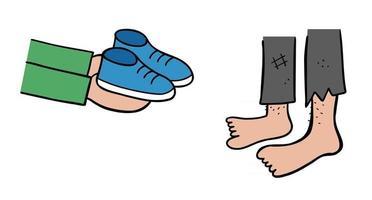 Karikaturvektorillustration des neuen Schuhgeschenks an die Obdachlosen vektor