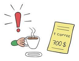 Karikaturvektorillustration eines Kaffeetrinkers und eines Restaurants mit einem sehr hohen Preis vektor