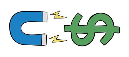 Karikaturvektorillustration des Magneten, der Dollargeld anzieht vektor
