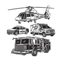 Sammlung von Einsatzfahrzeugen in Schwarzweiß vektor
