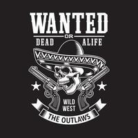 mexikanischer Schädel mit Sombrero und Waffen vektor