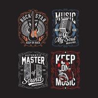 Vintage Musik T-Shirt Design-Kollektion vektor