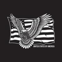 amerikanischer schreiender Adler mit Sternenbanner vektor